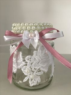 Mason Jar Art, Mason Jar Crafts, Bottle Crafts, Diy Gifts, Handmade Gifts, Creation Deco, Shabby Chic Crafts, Altered Bottles, Decorated Jars