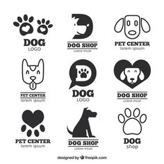 Great pack of flat logos with dogs and tracks Free Vector Pet Shop, Vector Dog, Icon Set, Pet Branding, Dog Logo Design, Dog Cafe, Dog Icon, Flat Logo, Cartoon Dog