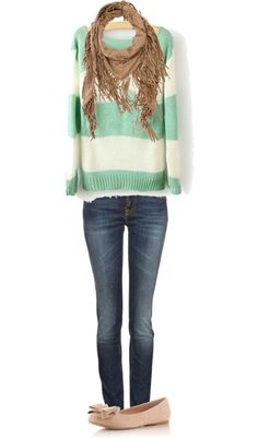 comfy scarf stripes outfit flats