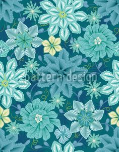 Feeling blue? Melancholic floral repeating pattern with blue blossoms designed by Sabine Reinhart, available as a download vector file on patterndesigns.com