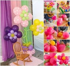 DIY Make Balloon Flower Decorations for Birthday or any Parties. Flowers out of balloons are a regular thing to see at carefully thought events. They are so easy to make, a kid can pitch in to help with the preparations. Balloon Crafts, Birthday Balloon Decorations, Flower Decorations, Decoration Crafts, Balloon Centerpieces, Ballon Party, Deco Ballon, Fete Laurent, Easy Crafts