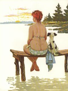 """Hilda - watches sunrise with dog while sitting on wooden perch in the water - In the mid-1950s, Duane """"Dick"""" Bryers"""