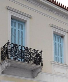 A swallow nest in the window of Neoclassical house, one of the many of Spetses… Athens Greece, Neoclassical, My Land, Windows And Doors, Vintage Photos, Greek, Around The Worlds, Stairs, Exterior