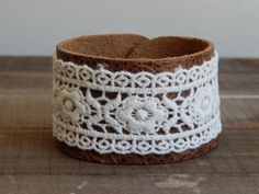 Leather cuff with lace, boho chic, bohemian style, layering bracelet, brown leather, rustic, leather and lace, embroidered lace cuff