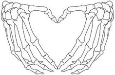 Open skeleton hands form the shape of a heart. Downloads as a PDF. Use pattern transfer paper to trace design for hand-stitching.