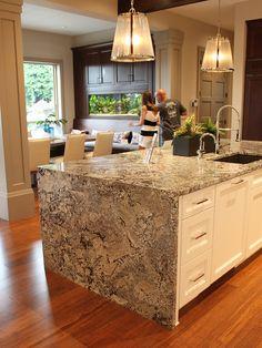 side of island Kitchen Reno, Kitchen Ideas, Floor Slab, Granite Slab, Vinyl Flooring, Mosaic Tiles, Oregon, Marble, Island