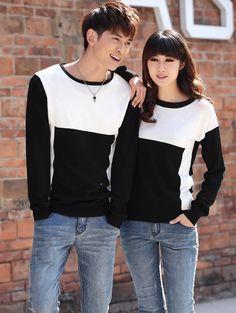 CC00286 Black-white couples creative splice Korean style T-shirt