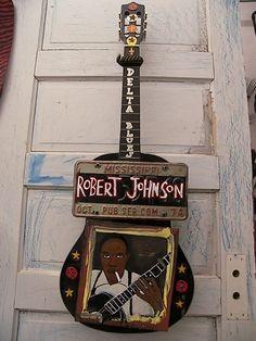 ROBERT JOHNSON GUITAR - DALTON ART Vision Art, Robert Johnson, Funky Art, Guitar Art, Blues Music, Jazz Music, Jimi Hendrix, Old And New, Travel