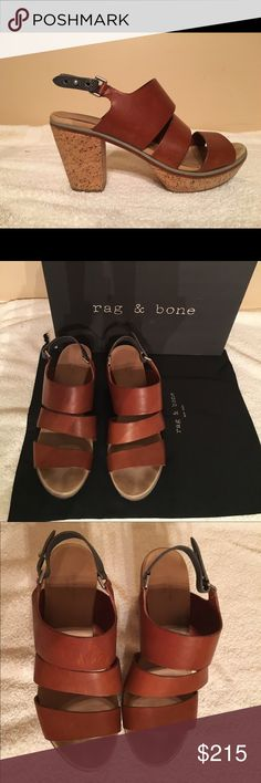 "Rag and Bone Folsom Wedge Rag & Bone Folsom wedge.  Leather with 3.5"" cork heel and  1"" platform.  Color is tan with a gray ankle strap.  Overall excellent condition.   Very comfortable.  Original box and dust bag included. rag & bone Shoes Sandals"
