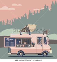 Vector van illustration. Retro vintage ice cream truck#auto #automobile #background #business #candy #car #cartoon #cheerful #classic #coffee #cold #corners #cream #delivery #design #dessert #eating #flat #food, #ice #icon #illustration #isolated #landscape #local #machine #refreshment #retro #rounded #seasonal #side #sign #simple #small #snack #speed #street #sweet #symbol #transport #transportation #treat #truck #van #vector #vehicle #view #wafer #wheel #winter #shutterstock