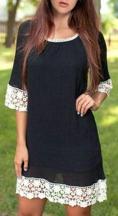 Scoop Neck 3/4 Sleeve Lace Spliced Loose Dress