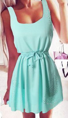 Green Plain Drawstring Hollow-out Shoulder-Strap Chiffon Mini Dress - Mini Dresses - Dresses