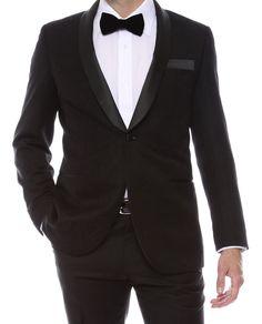 Shawl Colar Paisley Blazer for Men Tuxedo Jacket slim fit  lined vented  black #ferrecciGramercy #OneButton