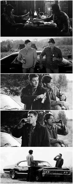 """[gifset] Winchester brothers and drinking beer #SPN #Dean #Sam The second one ♥ Dean: """"What, You wanna go hunt? I'll hunt. I'll kill anything."""" Sam, laughing (the cutest laugh ever) """"Awww."""" Bobby: """"He's adorable."""""""