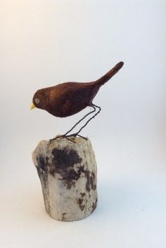 Tiny brown bird of paper clay and metal by marmoss on Etsy