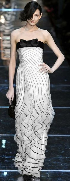 Giorgio Armani Prive - LOVE the delicate ruffles/ layers in the skirt- but, not so much the top...