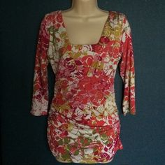 Cabi size medium square Neck  3/4  sleeve  shirt 17 bust pit to pit 29 long this is a fabulous Cabi  square neckline three-quarter sleeve colorful summer shirt rayon spandex blend style number 308 CAbi Tops Tees - Long Sleeve