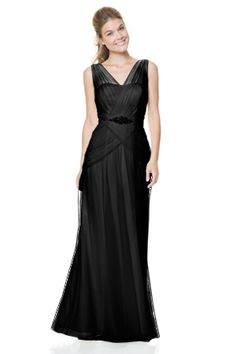 V-neck side draped gown with attached crystal belt and chiffon lining. Bridesmaids, Bridesmaid Dresses, Prom Dresses, Wedding Dresses, Bari Jay, Drape Gowns, Girls Dresses, Flower Girl Dresses, Formal Gowns