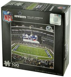 Perfect for football fans, this NFL Licensed Dallas Cowboys Puzzle features a small chipboard puzzle with an image of a Cowboys game at Cowboys Stadium. Puzzle measures approximately x For ages 6 and up. Comes packaged in an individual shrink wrapped box.