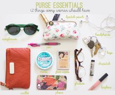 purse essentials / 12 things every woman should have / reality and retrospect; also, those glasses are the cutest!!