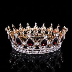 Details about High Ruby Red Sparkling Crystal Gold King Crown Wedding Prom Party Pageant - wedding details Gold King Crown, Kings Crown, Queen Crown, Pageant Crowns, Tiaras And Crowns, Royal Crowns, Crown Royal, Crown For Women, Crown Aesthetic