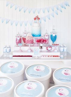 retro-pink-flamingo-dessert-table