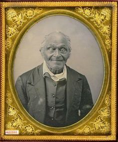 "ca. 1850-60's, ""Old Peter-A slave escaped to home of Slater Brown, supposed to be nearly 100 years old,"" [daguerreotype portrait of a gentleman]  via the Daguerreian Society, Greg French Collection"