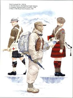 BRITISH ARMY - 52nd (Lowland) Division 1939-44 - 1) Stretcher Bearer, 6th Highland Light Infantry - 2) Company Sergeant-Major of Infantry, 1944 - 3) Piper, 4/5 Royal Scots Fusiliers, 1943