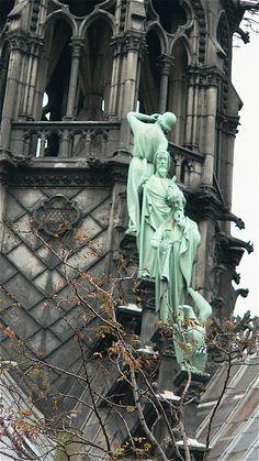Sculptures on Notre Dame Cathedral, Ile de la Cite, Paris 4e