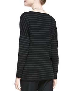 Merino Jersey Striped Long-Sleeve Top