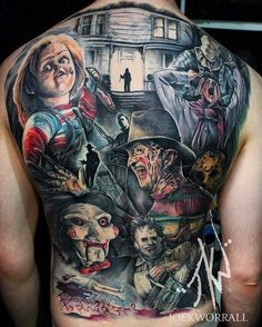 Horror Movies by Casi at Heart & Arrow Tattoo in Shropshire, England. Backpiece Tattoo, Tattoo Henna, Sick Tattoo, Halloween Tattoo, Clown Tattoo, Shoe Tattoos, Body Art Tattoos, Sleeve Tattoos, Horror Movie Tattoos