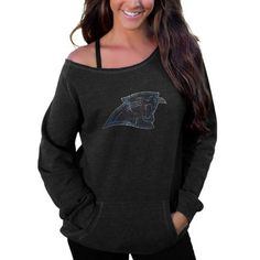 This cozy off the shoulder Panthers sweater is perfect for lounging at home or running errands.