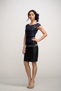 navy blue lace bodice black skirt short mini bridesmaid dress on sale    US$ 288.00 off US$158.00