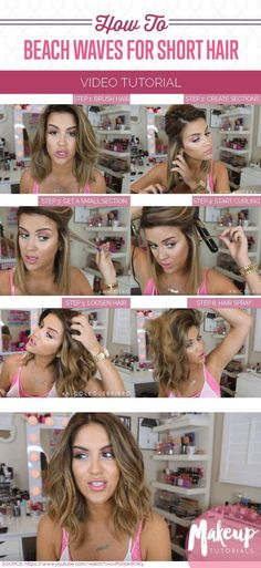 How To: Effortless Beach Waves For Short Hair   DIY Hairstyle Tutorials, check it out at http://makeuptutorials.com/effortless-beach-waves-short-hair/