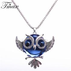 2.87$  Know more - New Sweater Statement Owl Cute Trendy Crystal Necklaces & Pendants For Women White Gold Chain Long Jewelry collier femme 1241   #magazine