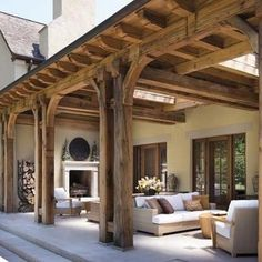 Outdoor living room with fireplace: