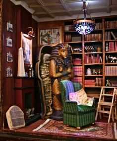 1:12 Miniature Egyptologist's library  Everything is scratch built except the desk and sacrophagus