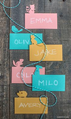 Woodland Animal Place Cards #kidsparty: