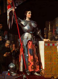 Joan D' Arc na coroação de Charles VII, Jean-Auguste Dominique Ingrés,  1854. O quadro apresenta uma figura que viveu no séc XV e foi canonizada devido ser queimada na fogueira por lutar pelos valores patrióticos e participar na luta contra a ocupação inglesa em 1429, na Guerra dos Cem Anos