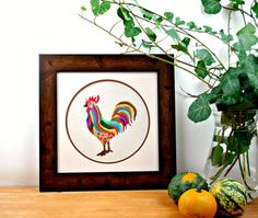 Colorful rooster  Hand Embroidery  Home Decor  Framed