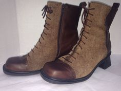 NAOT HUDSON BROWN LEATHER TWEED LACE UP GRANNY ANKLE ZIP BOOTS SZ 40 US 9 ~ Darn zippers!!
