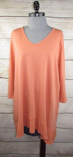 f0a2c0ab25b77 Women s Prairie Cotton Top Long Sleeve Tunic Thermal Trim Lagenlook Size L  Broen