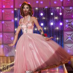 Violet Chachki is a gorgeous bearded lady in a 1950's Dior-inspired runway look. RuPaul's Drag Race season seven