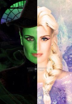 this is a picture of epic proportions. For those of you who don't know, the person is idina menzel. She plays Elphaba in the musical Wicked (the picture on the left) and she is the voice of Elsa from Frozen (the picture on the right) Disney Love, Disney Magic, Disney Pixar, Walt Disney, Disney Frozen, Dreamworks, Musical Theatre, Wicked Musical, Broadway Wicked