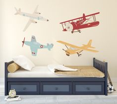 Airplane Wall Decal: Plane Wall Decal - Airplane Vinyl Wall Decor OLD SCHOOL AIRPLANES from rockymountaindecals.ca