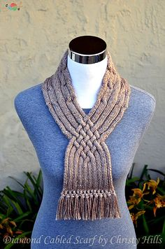 b4bd23723 Ravelry  Diamond Cabled Scarf pattern by Christy Hills Cable Needle