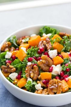 Butternut Squash and Pomegranate Kale Salad with Spiced Honey Walnuts