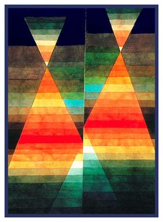 Twin Tents by Expressionist Artist Paul Klee Counted Cross Stitch or Counted Needlepoint Pattern