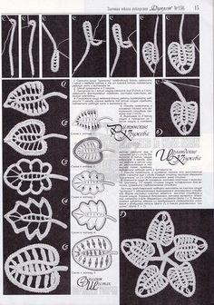 listki w technice koronki rumuńskiej