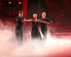 Kellie Pickler and partner Derek Hough received 27 out of 30 points from the judges for their Paso Doble trio dance during week eight of 'Dancing With The Stars,' which aired on May 6, 2013. (Photo Credit: Adam Taylor / ABC)